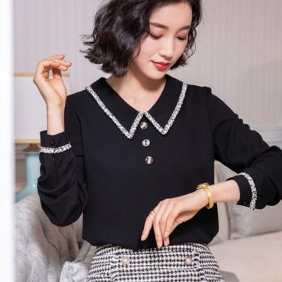 設計所在Lady-雪紡衫長袖寬鬆娃娃領上衣(三色M-3XL可選)