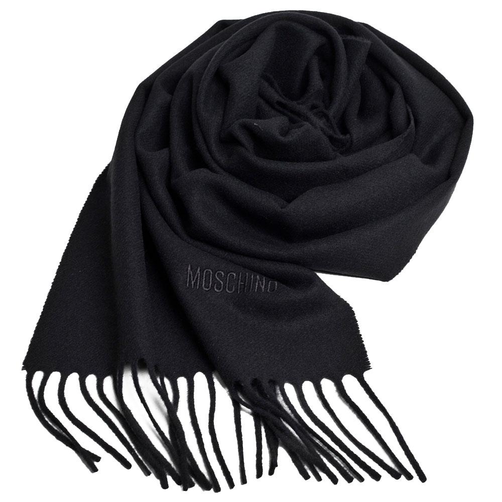 MOSCHINO 義大利製美麗諾羊毛字母LOGO刺繡高質感羊毛圍巾(黑色)