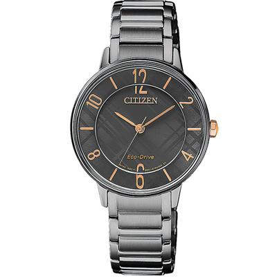 CITIZEN Ladies 復古簡約光動能腕錶(EM0528-82H)31mm