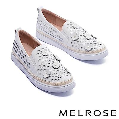 休閒鞋 MELROSE 清新珍珠立體皮花牛皮厚底休閒鞋-白