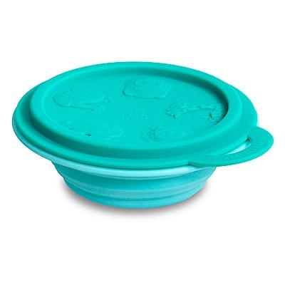 【MARCUS&MARCUS】動物樂園矽膠摺疊碗-大象(淺藍碗蓋/綠碗)