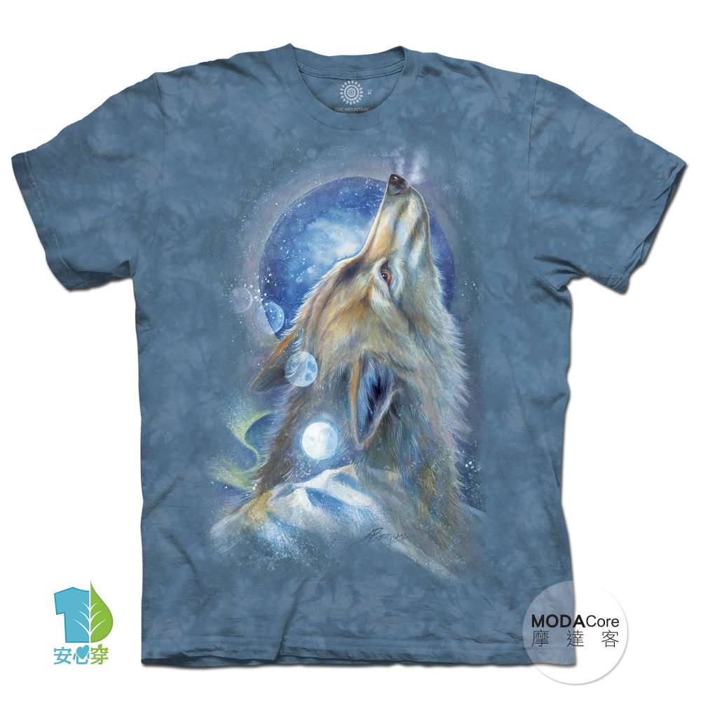 摩達客-美國進口The Mountain 白狼嘯月 純棉環保藝術中性短袖T恤 @ Y!購物