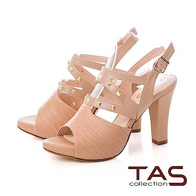 TAS 鱷魚紋側鏤空鉚釘寬繫帶高跟涼鞋-質感卡其