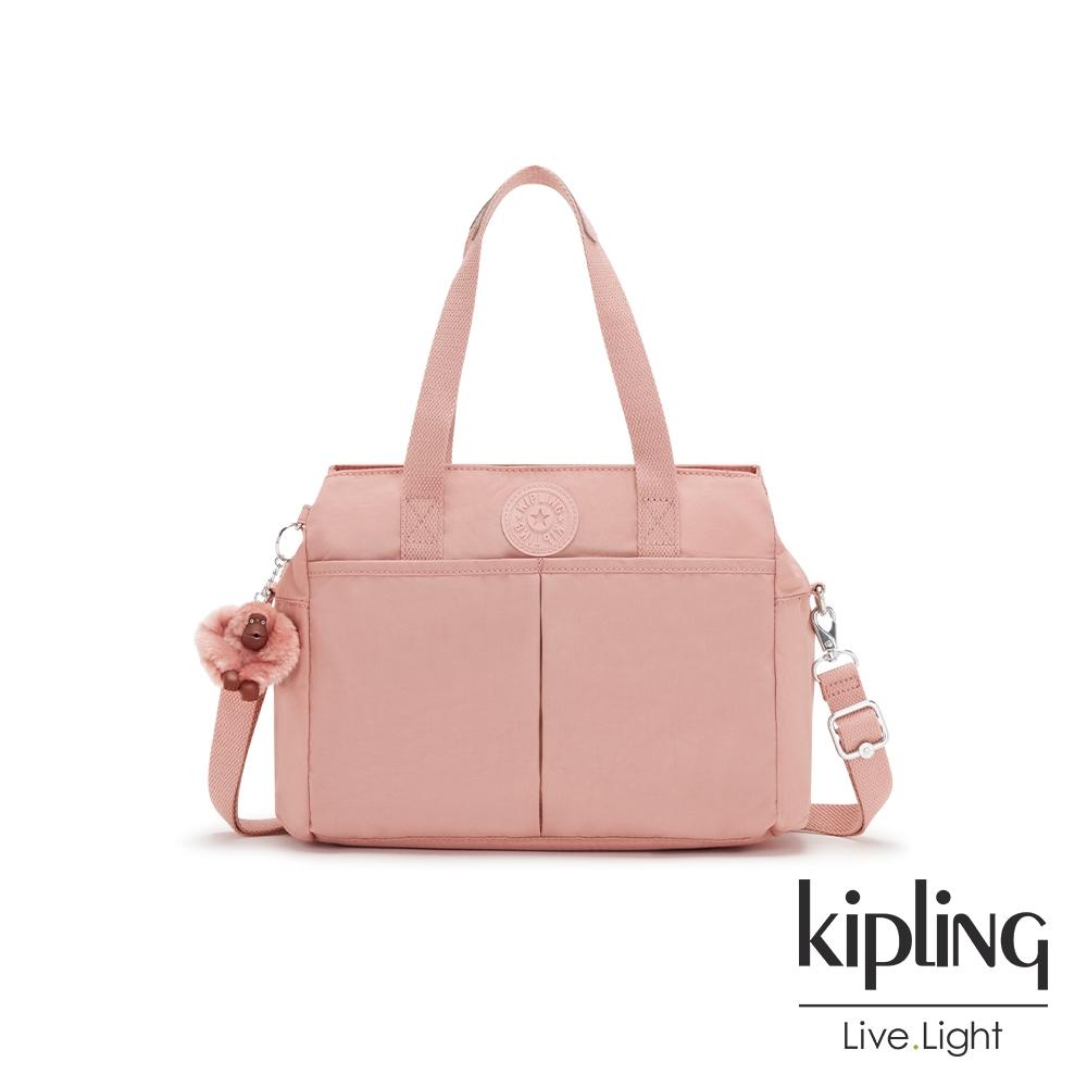 Kipling 玫瑰石英粉大容量手提兩用包-KENZIE