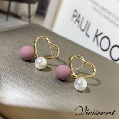 VIVI SECRET 甜美女孩鏤空愛心耳環-粉紫色