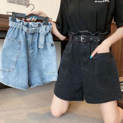 La Belleza荷葉花苞鬆緊腰高腰雙口袋附皮帶五分牛仔短褲