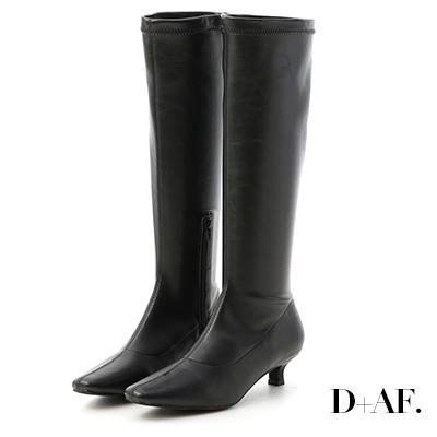 D+AF 優質首選.素面中車線小貓跟長靴*黑