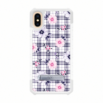 apbs iPhone XS Max 6.5吋專利軍規防摔立架手機殼-格紋-舞春花(白殼)