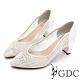GDC-真皮細緻水鑽簍空宴會尖頭跟鞋-白色 product thumbnail 1