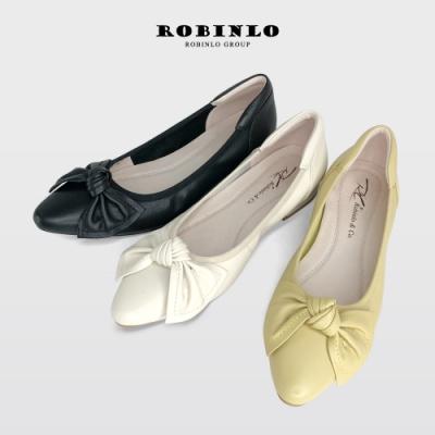 Robinlo全真皮優雅OL扭結真牛皮尖頭平底娃娃鞋  米白/黃/黑