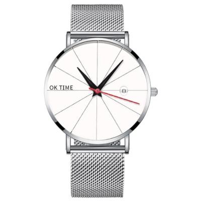 Watch-123 型男養成-紅秒針米字盤日曆商務手錶(3色任選)