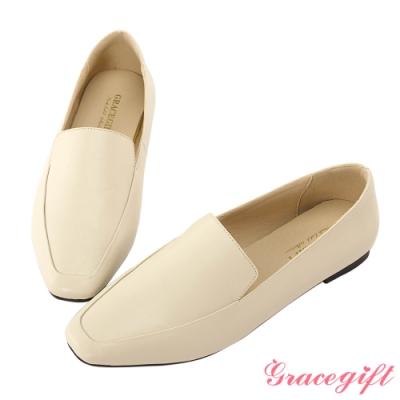 Grace gift-簡約方頭素面樂福鞋 米白