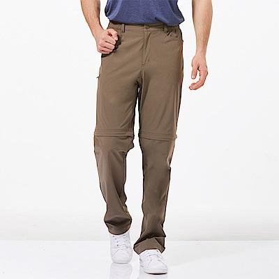 【HAKERS 哈克士】男 快乾彈性可拆式長褲-布朗褐
