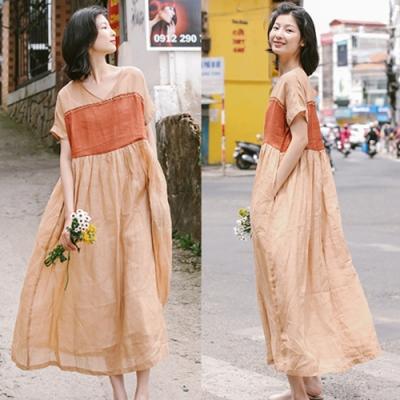 洋裝-苧麻手工刺繡交叉V領長裙寬鬆高腰-設計所在