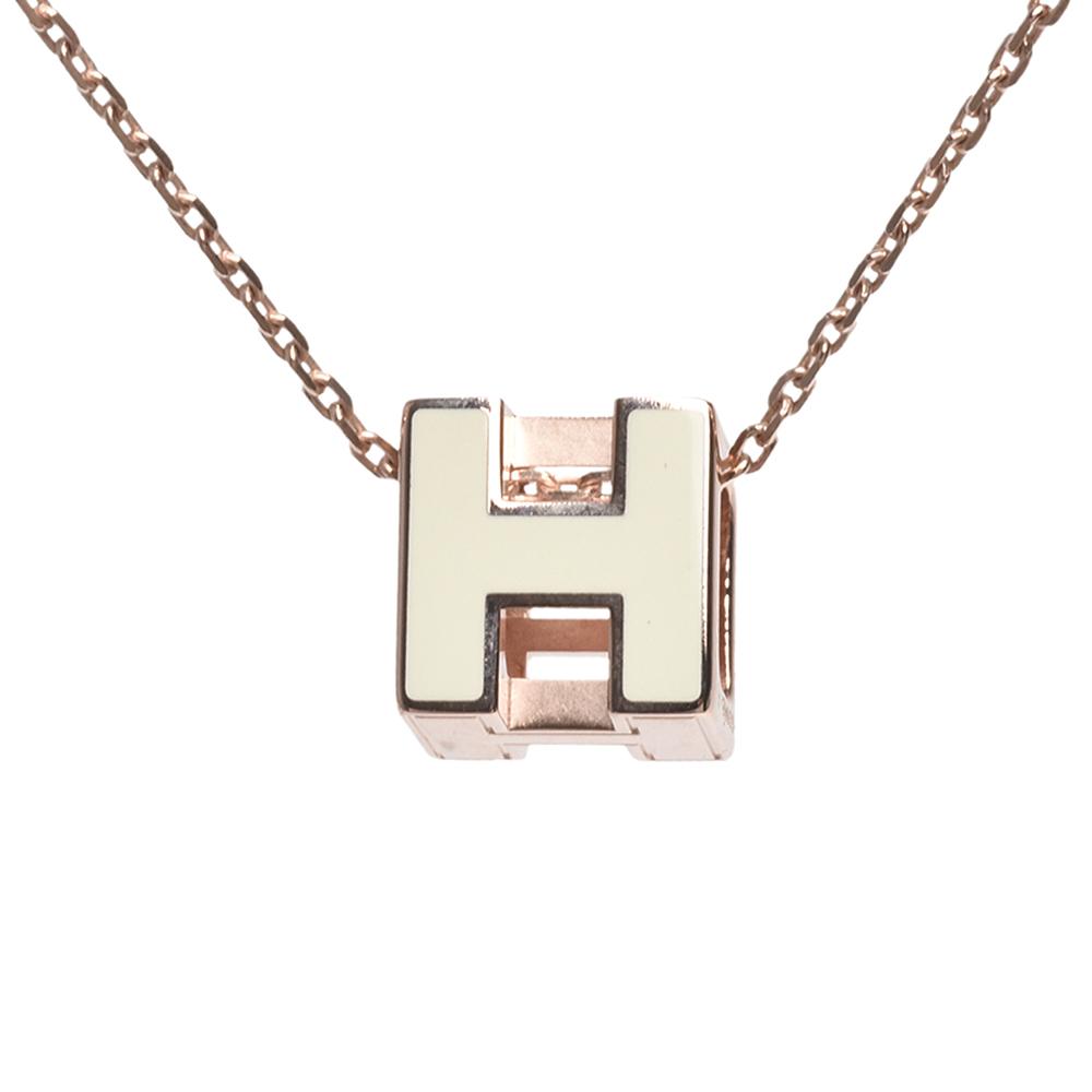 HERMES 經典立體H LOGO簍空方塊項鍊(白X玫瑰金)