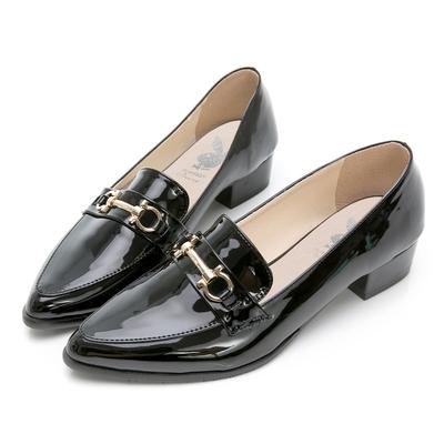 PLAYBOY 玩美小時光 英倫格調漆皮樂福鞋-黑-YD7317CC