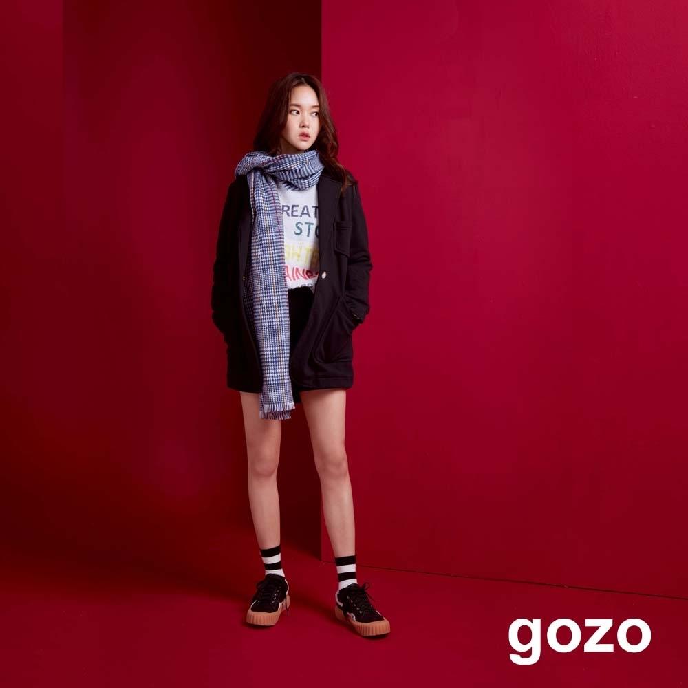 gozo 繡線裝飾針織短褲(黑色)