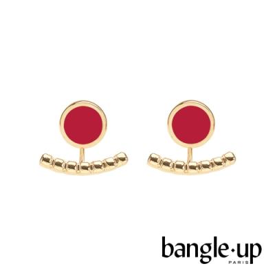BANGLE UP 典藏巴黎琺瑯耳掛式兩用耳環-絲絨紅