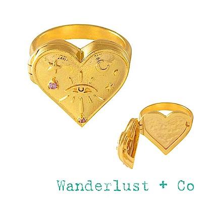 Wanderlust+Co 鑲鑽藏寶盒戒指 金色愛心戒指 HARLOW LOCKET