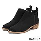 達芙妮DAPHNE 踝靴-原色深U字鬆緊帶木紋粗跟靴-黑