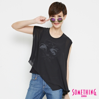 SOMETHING U領異材質拼接雙層造型T恤-女-黑色