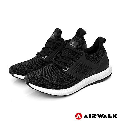 【AIRWALK】極速爆風針織慢跑鞋-女款黑