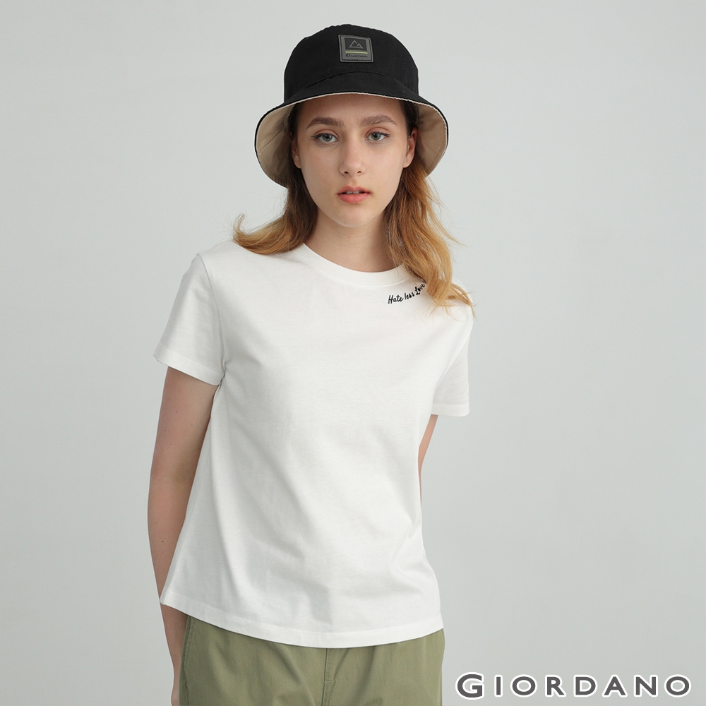 GIORDANO 女裝英文刺繡圓領T恤 - 16 皎白