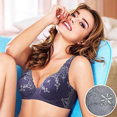黛安芬-自然美型E+大女人系列軟鋼圈 D-E罩杯全罩內衣 灰