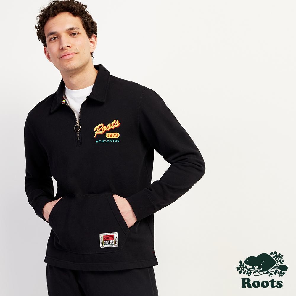 Roots男裝-經典LOGO元素POLO領上衣-黑色