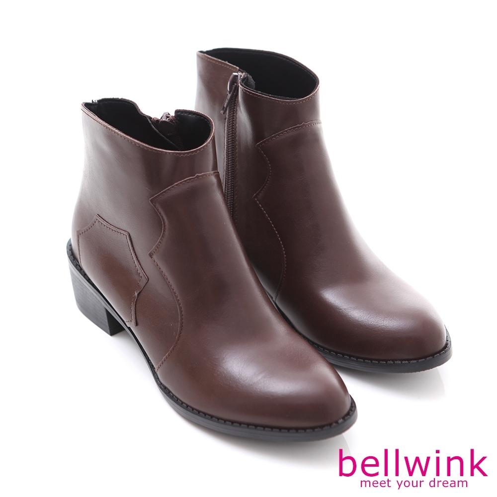 bellwink 日系俐落皮革尖頭短靴-棕色-b9710ce