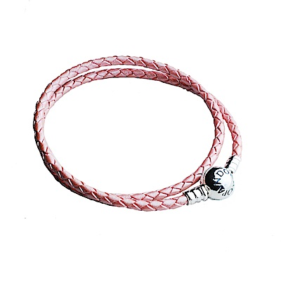 Pandora 雙圈粉紅皮繩圓扣手鍊-35cm