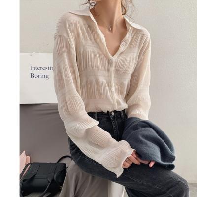 2F韓衣-韓系線條摺皺造型雪紡上衣-新-3色(M-XL)
