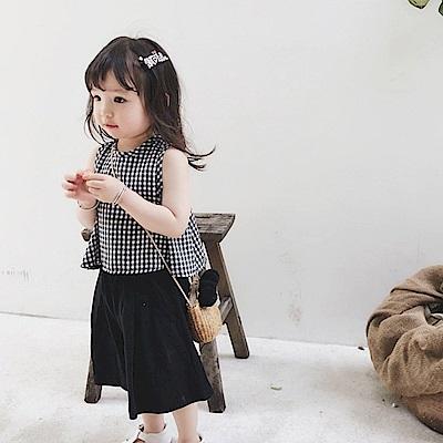 小衣衫童裝    中小女童可愛格子A字背心闊腿短褲套裝1080209