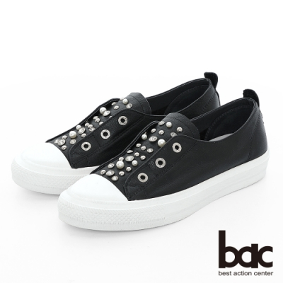 【bac】週末輕旅行 - 鉚釘鑽飾點綴懶人休閒鞋-黑