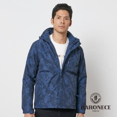 BARONECE 百諾禮士休閒商務 男裝 兩件式鋪棉迷彩連帽夾克外套-藍色(1206781-39)