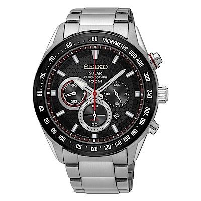 SEIKO 精工Criteria 太陽能 競速賽車三眼計時運動錶-黑/V175-0EE0D