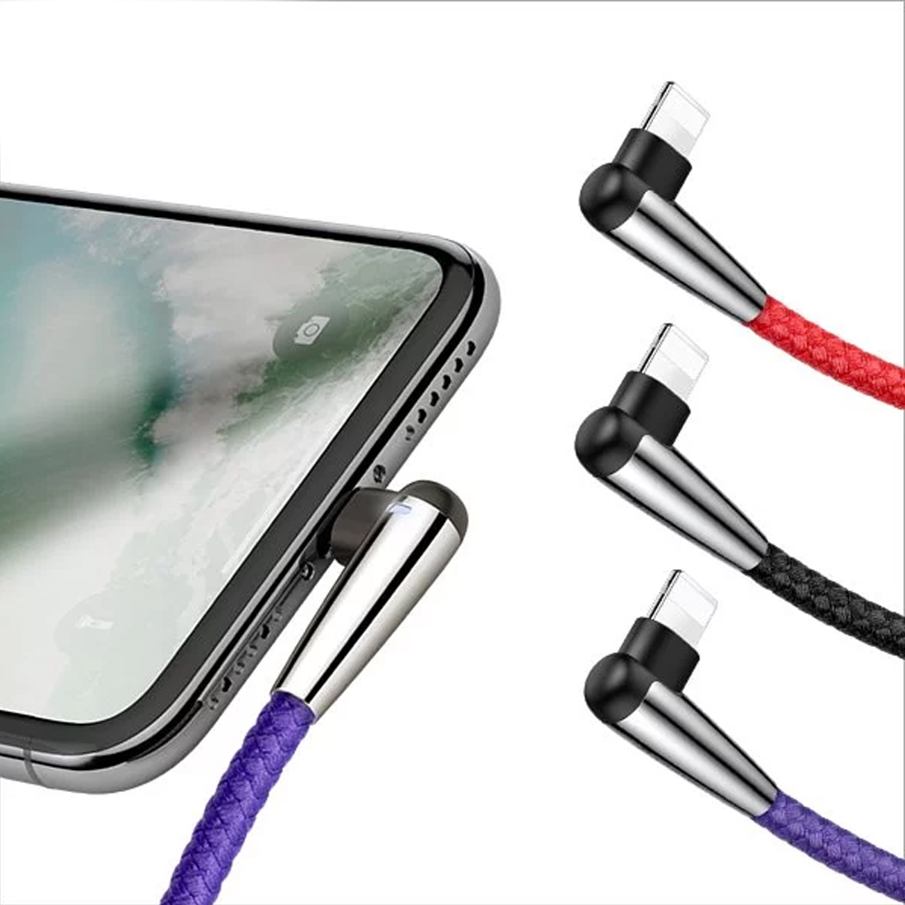 Baseus王者彎頭指示燈for蘋果 Lightning 傳輸線1米+2米(共2入)
