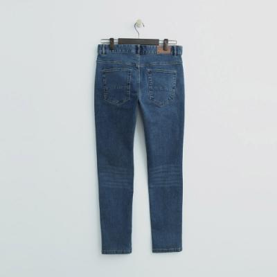 Hang Ten - 男裝 - 仿舊刷色彈性牛仔窄褲-藍