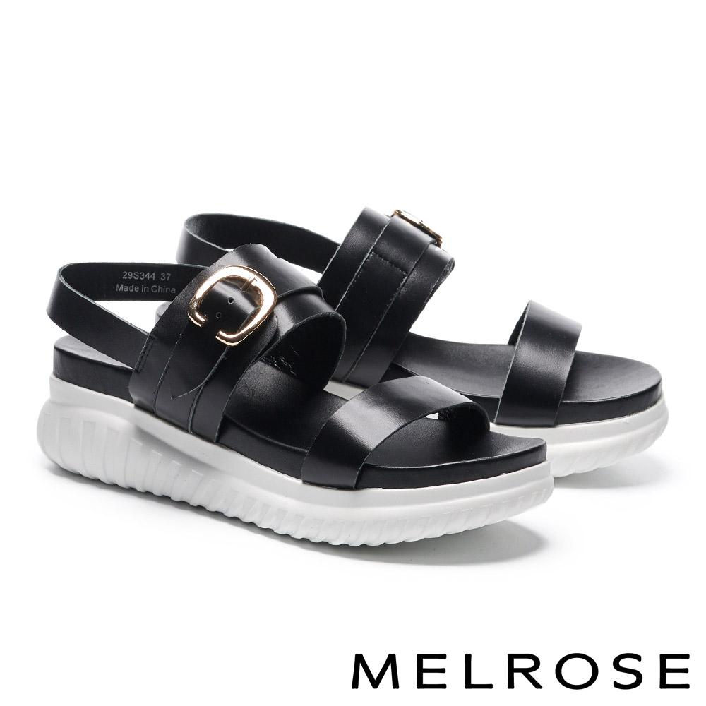 涼鞋 MELROSE 簡約率性金屬釦飾牛皮厚底涼鞋-黑
