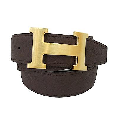 HERMES 經典金色H LOGO雙面兩穿小牛皮腰帶/皮帶(黑X巧克力-金)