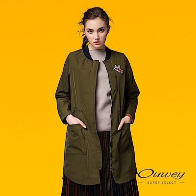OUWEY歐薇 蜂鳥貼布刺繡長版外套(綠)-動態show
