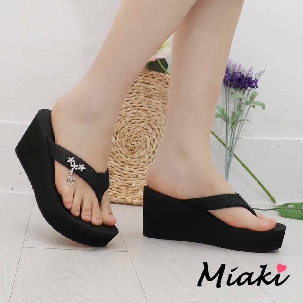 Miaki-拖鞋.MIT 星鑽厚底人字拖 (黑色系)