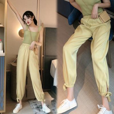 【韓國K.W.】(預購)夏日風尚修身加長束口褲-3色