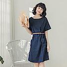 高含棉單寧短袖洋裝(附腰帶)-OB大尺碼