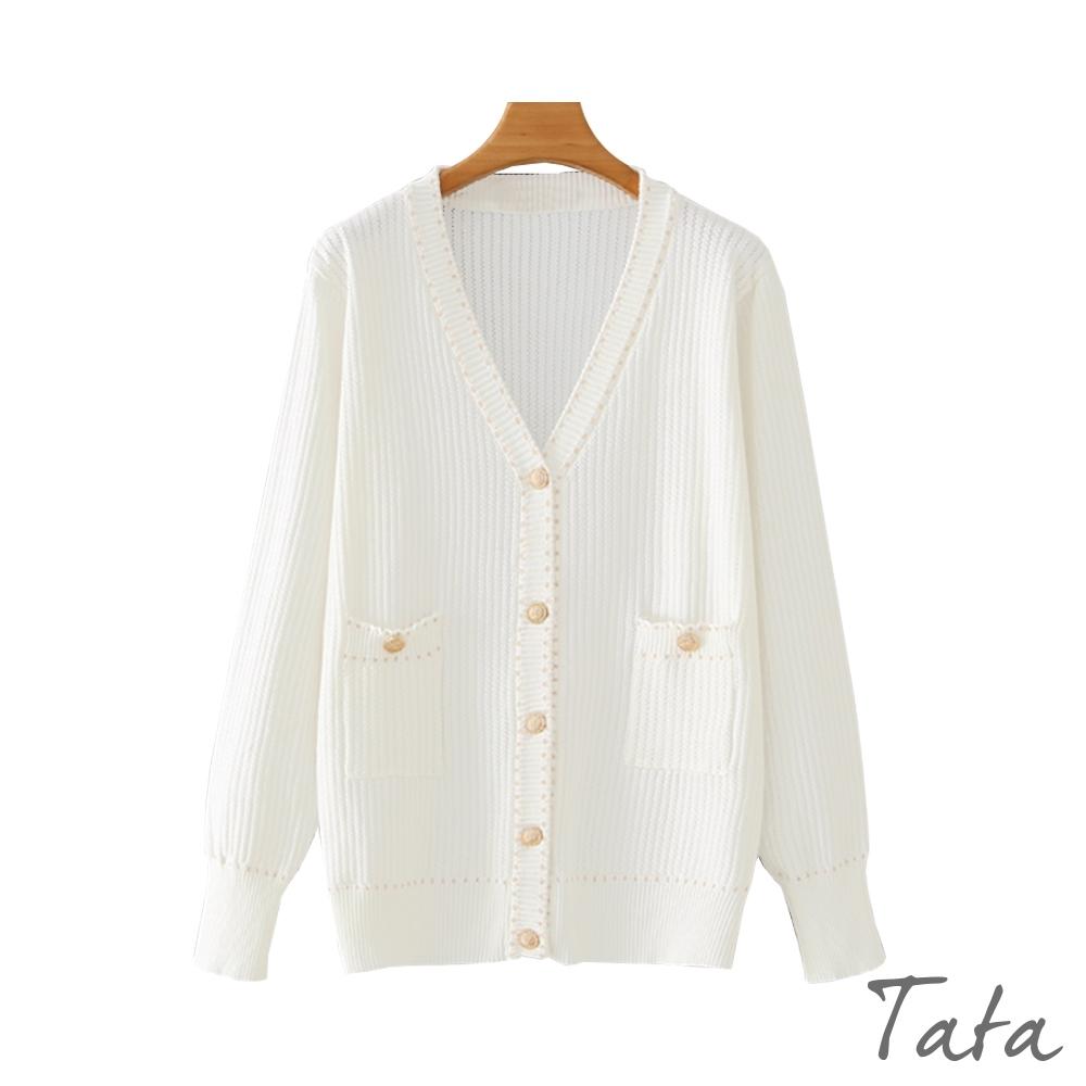 線條鏤空金蔥虛線織紋外套 共二色 TATA-F