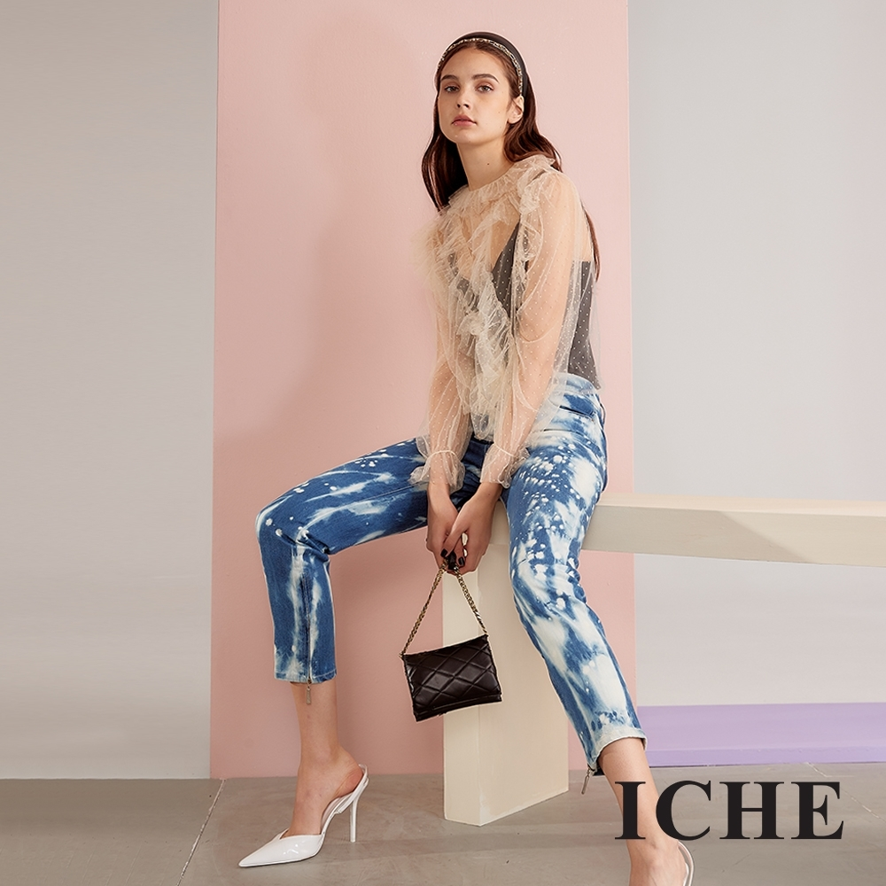 ICHE衣哲 率性潑漆刷色牛仔單寧造型九分褲-刷藍
