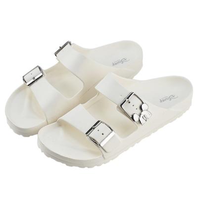 迪士尼親子鞋  米奇  男段雙釦涼拖鞋-白