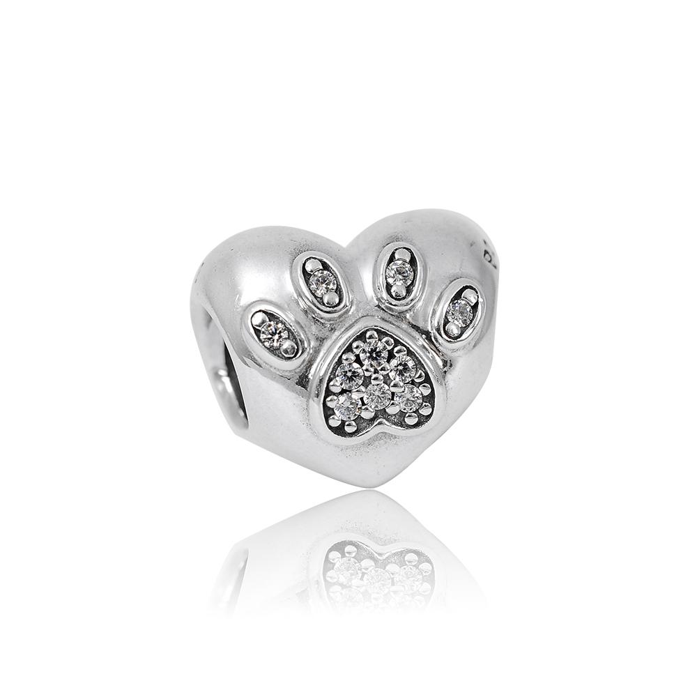 Pandora 潘朵拉 魅力愛心貓爪鑲鋯 純銀墜飾 串珠