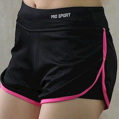 La Belleza假兩件含內襯防走光瑜伽跑步馬拉松滾邊運動短褲(紫紅)