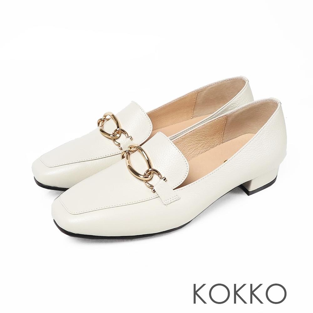 KOKKO曼哈頓戀曲金屬鍊扣方頭平底鞋輕盈白
